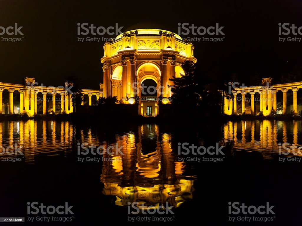 Palace of Fine Arts by Night stock photo