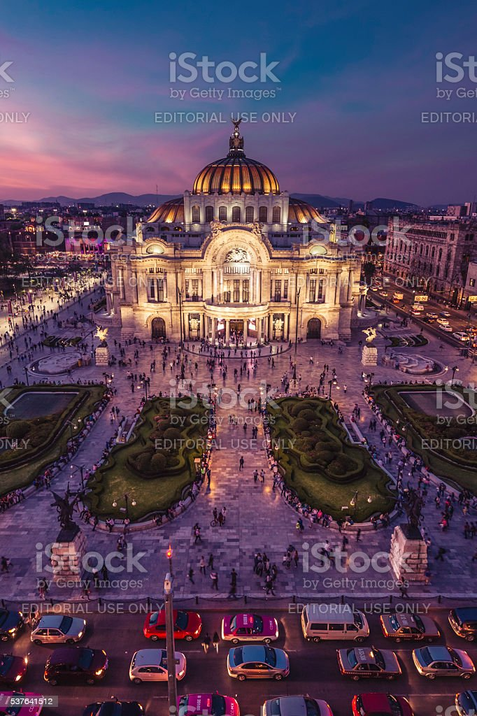 Palacio de bellas Artes, Night Panoramic View stock photo