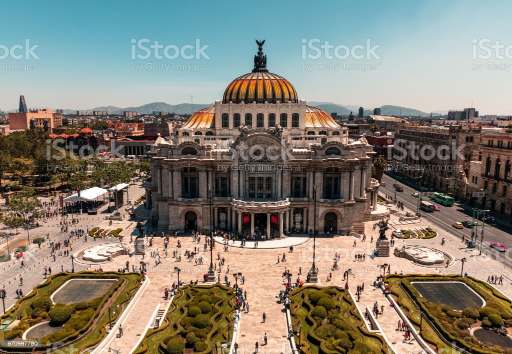 Palacio de Bellas Artes Palacio de Bellas Artes captured from Cafe Don Porfirio. Architecture Stock Photo