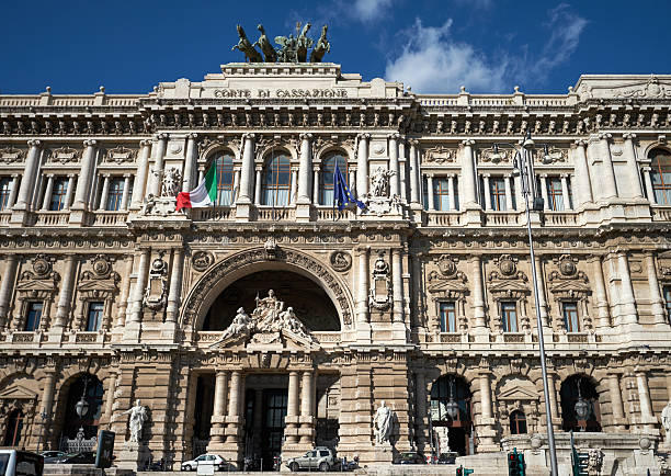 Palace of Justice, Rome Rome, Italy - November 9, 2016: The Palace of Justice, the heart of all courts in Italy, on a sunny day in Rome shot from Umberto I bridge war effort stock pictures, royalty-free photos & images
