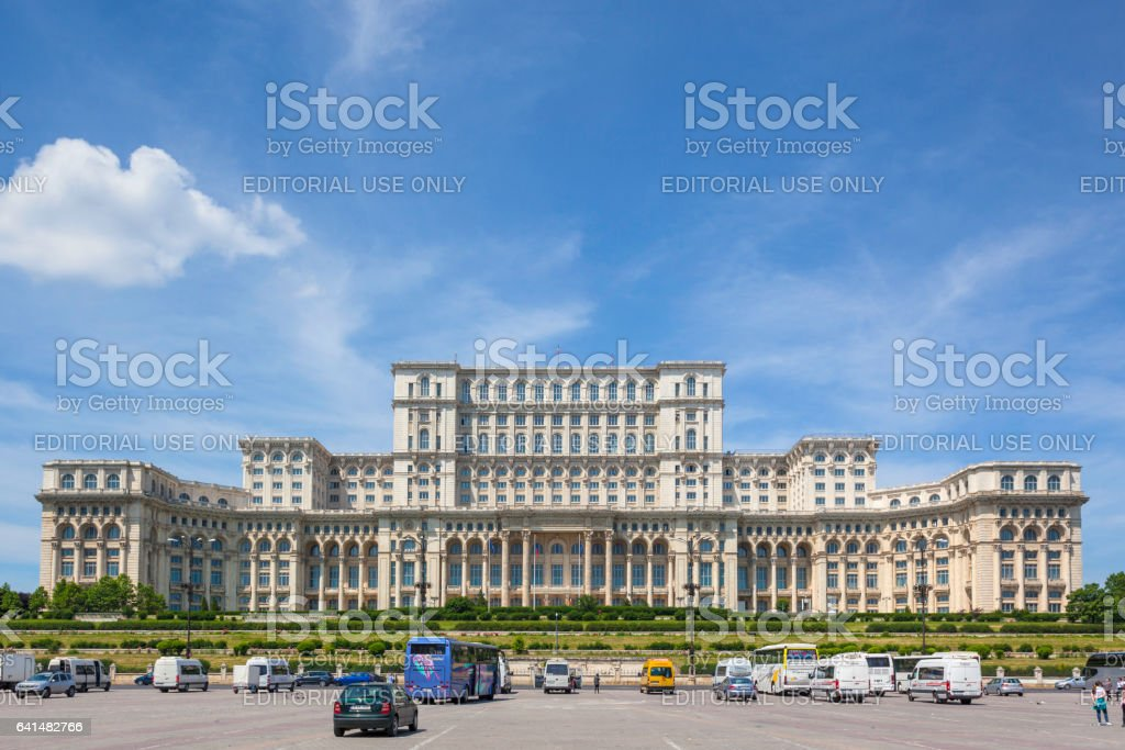Palace of Parliament in Bucharest stock photo