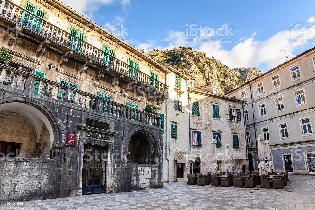 Palace of Pima family, Kotor, Montenegro. Unesco Town. stock photo