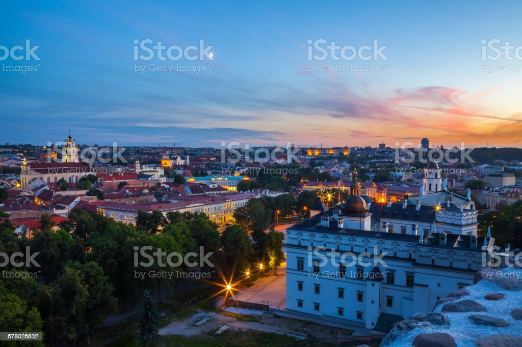 Palace of the Grand Dukes, Cathedral and city panoramic view. Lithuania. Vilnius Old Town. stock photo