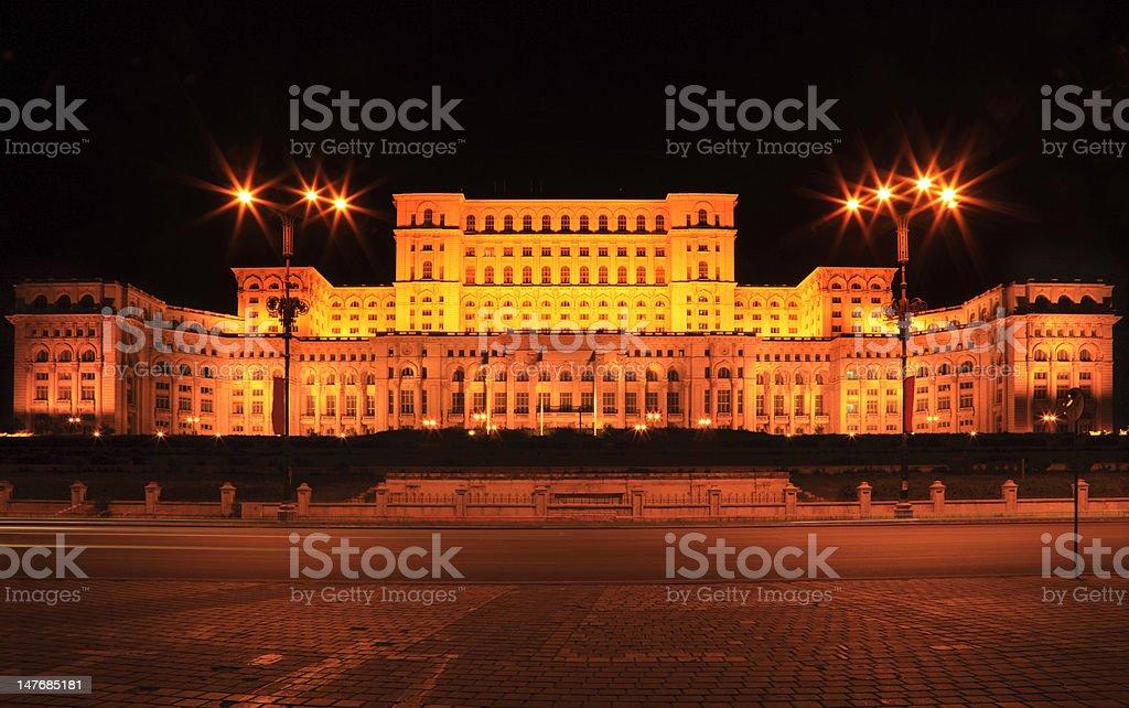Palace of the Parliament,Bucharest,Romania-night image royalty-free stock photo