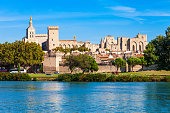 Palace of the Popes or Palais des Papes and Avignon Cathedral aerial panoramic view in Avignon city, southern France