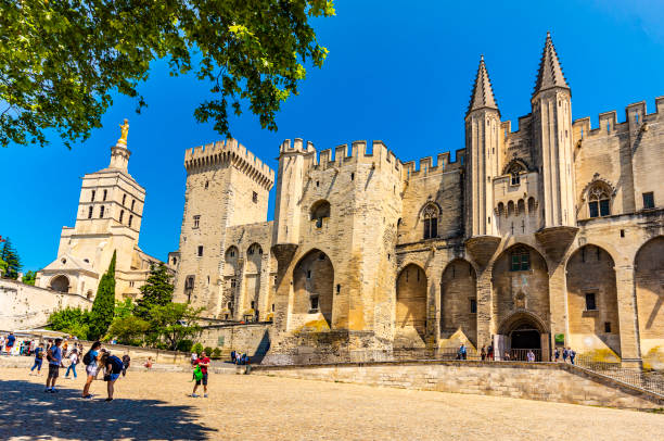 Palace of the Popes of Avignon (Provence-Alpes-Côte d'Azur, France). stock photo