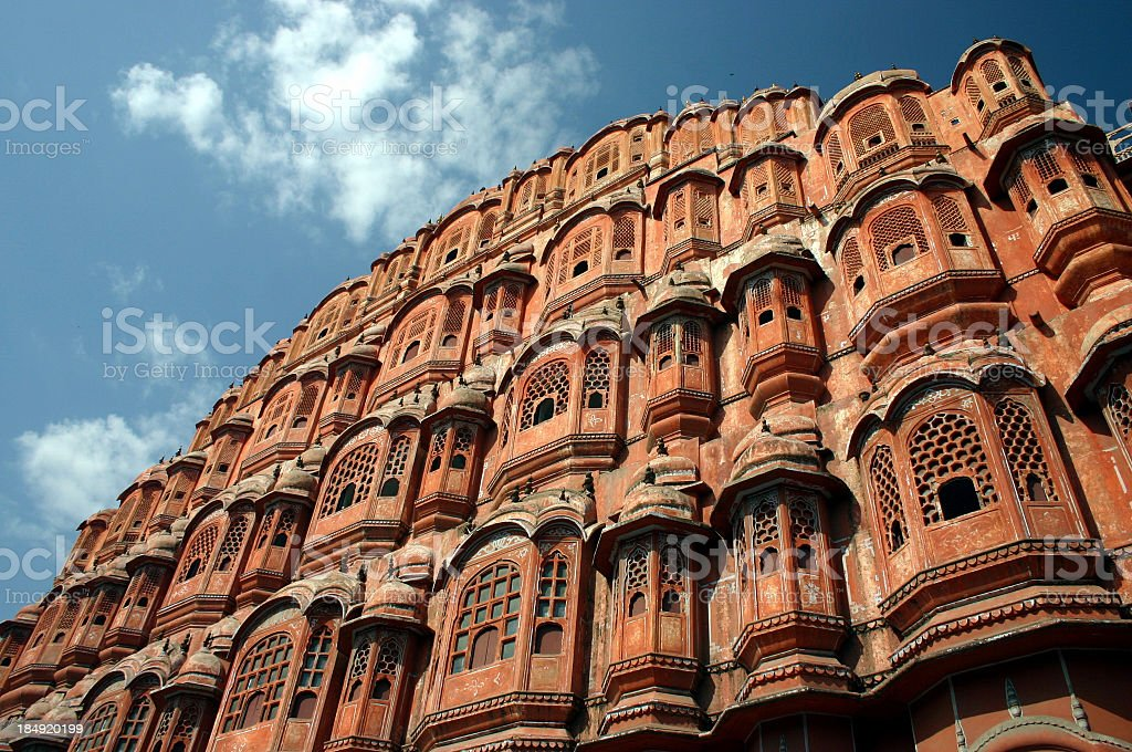 Palace of the Winds Jaipur 2 The Palace of the Winds in Jaipur. Building Exterior Stock Photo