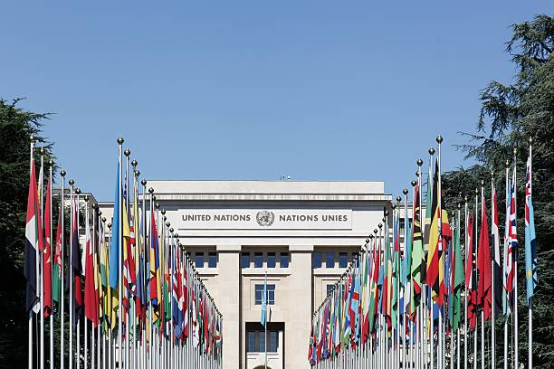 palace of united nations in geneva, switzerland - united nations стоковые фото и изображения