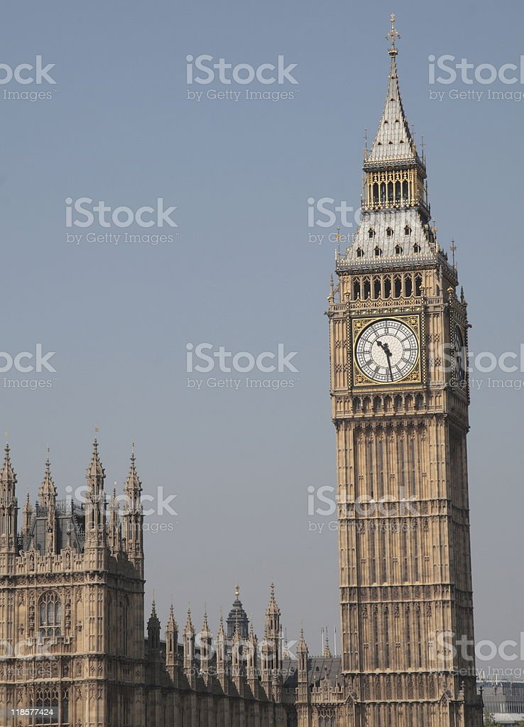 Palace of Westminster, and Big Ben, London, England royalty-free stock photo