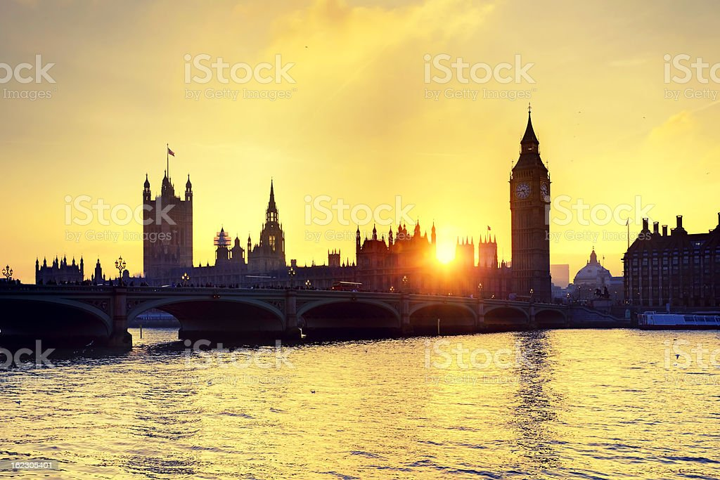Palace of Westminster at sunset royalty-free stock photo