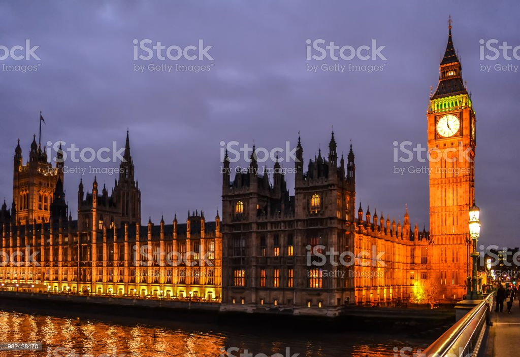Palace of Westminster in night illumination stock photo