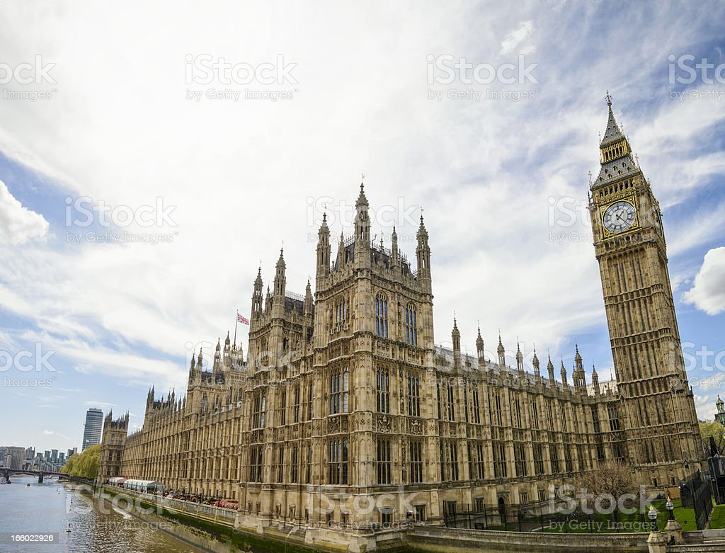 Palace of Westminster Wide Angle View stock photo