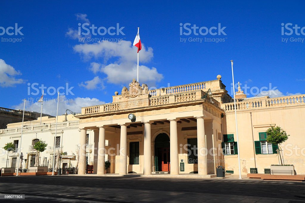 Palace on Saint George Square, Malta royalty-free stock photo