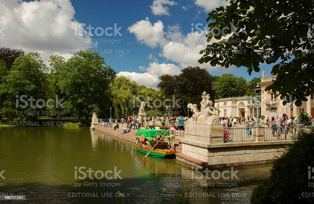 Palace on the water in Łazienki Royal Park stock photo