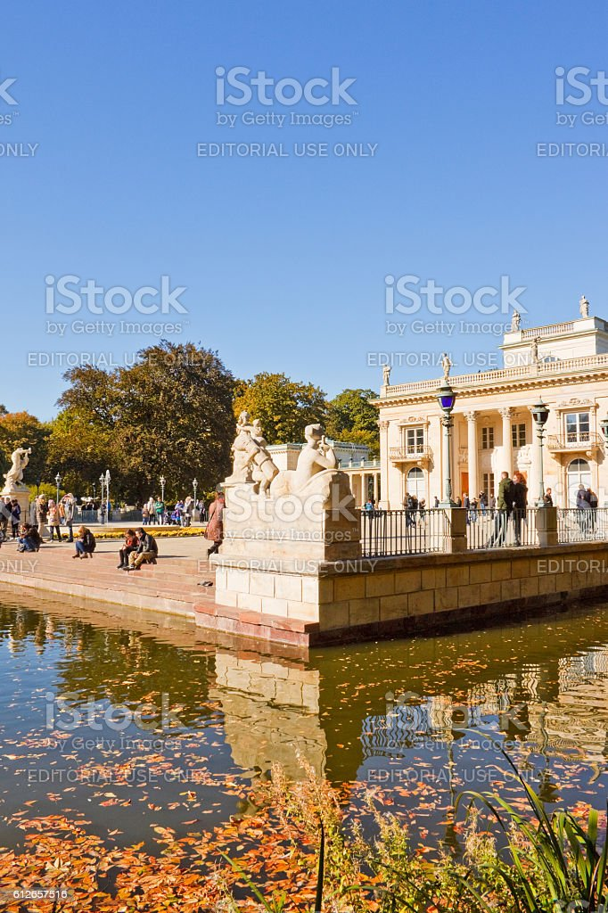 Palace on the Water in Lazienki park, Warsaw, Poland stock photo
