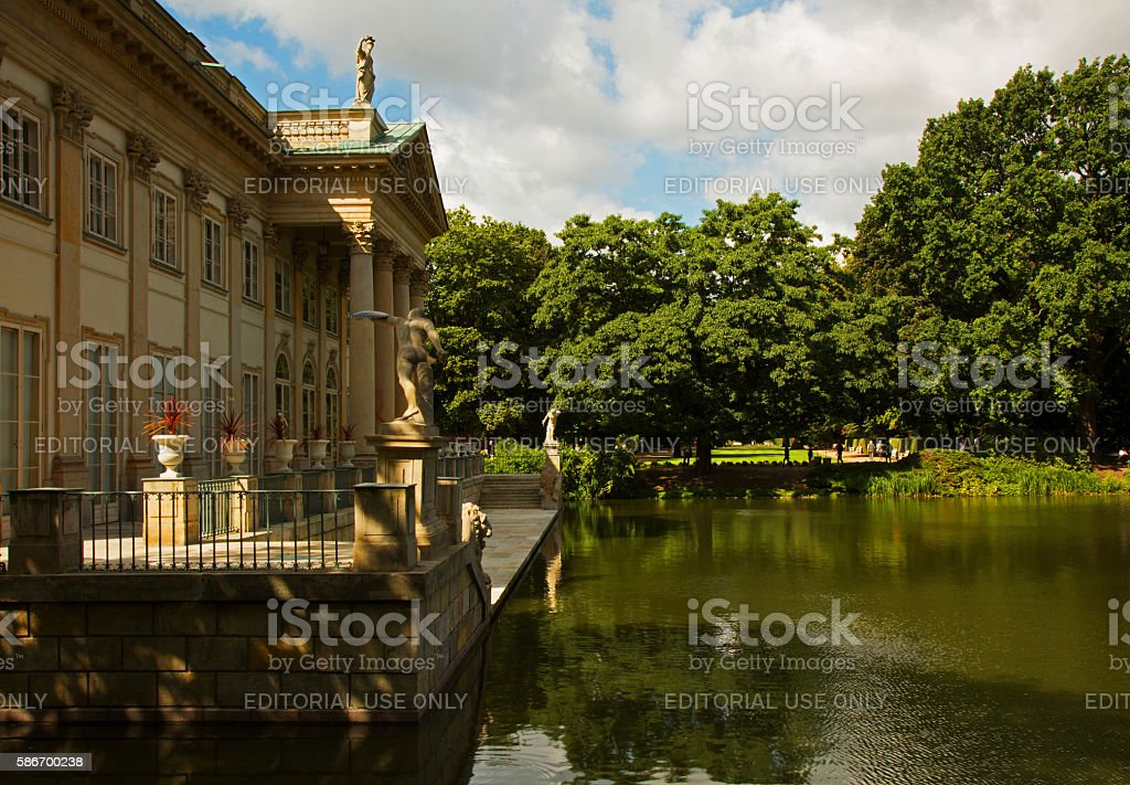 Palace on the water in Lazienki Royal park stock photo