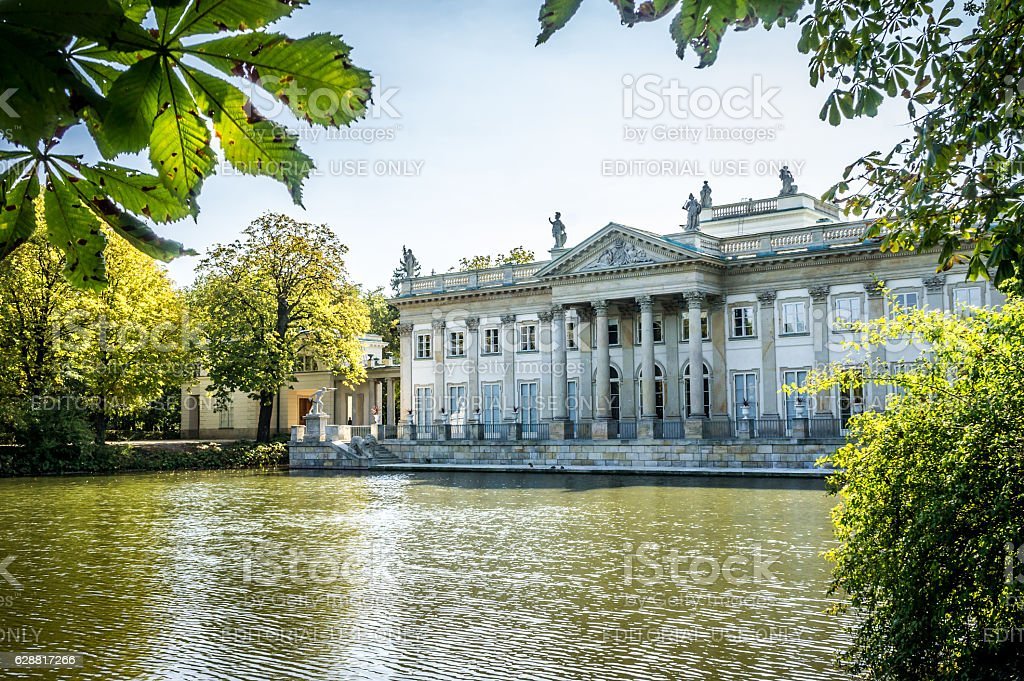 Palace on the Water, Lazienki Park in Warsaw. Northern facade stock photo