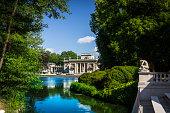 Warszawa, Poland - July 31, 2015: Restored Baroque palace in Warsaw's Royal Baths Park, Poland