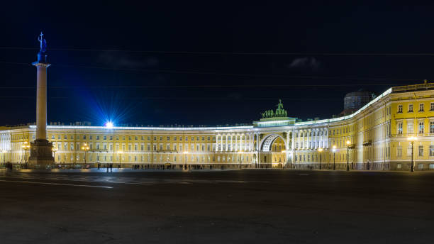 Palace Square by night Nightview of the magnificent Palace Square in the old town of Saint Petersburg. artistical stock pictures, royalty-free photos & images