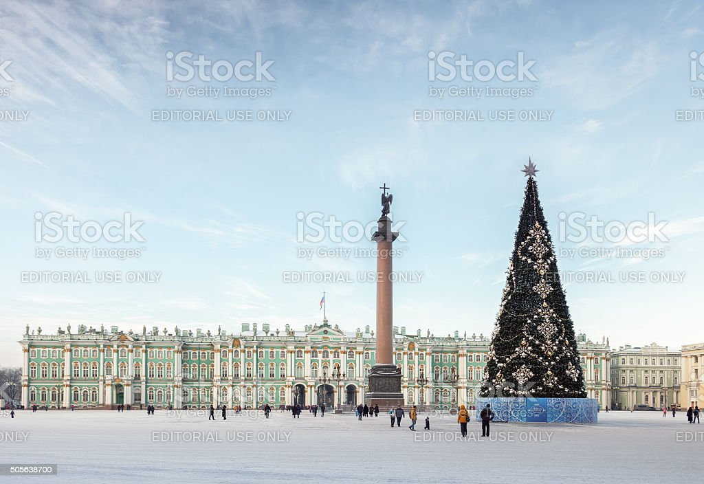 Palace Square with the Christmas tree in St. Petersburg, Russia stock photo