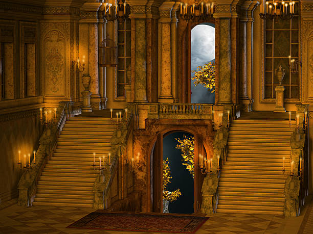 Palace stair interior stock photo