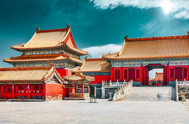 Palaces, pagodas inside the territory of the Forbidden City Museum in Beijing in the heart of city. stock photo
