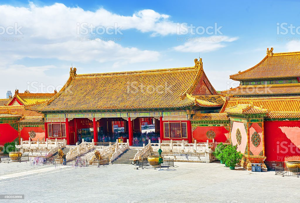 Palaces, pagodas inside the territory of the Forbidden City stock photo