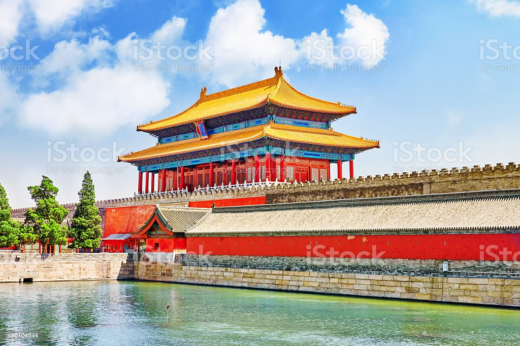 Palaces, pagodas on  the territory of the Forbidden City Museum stock photo
