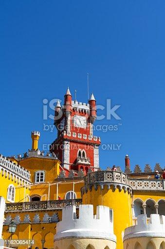 Sintra, Portugal. June 1 2019: Pena Palace or Palacio da Pena, tourists visit this famous portuguese landmark.