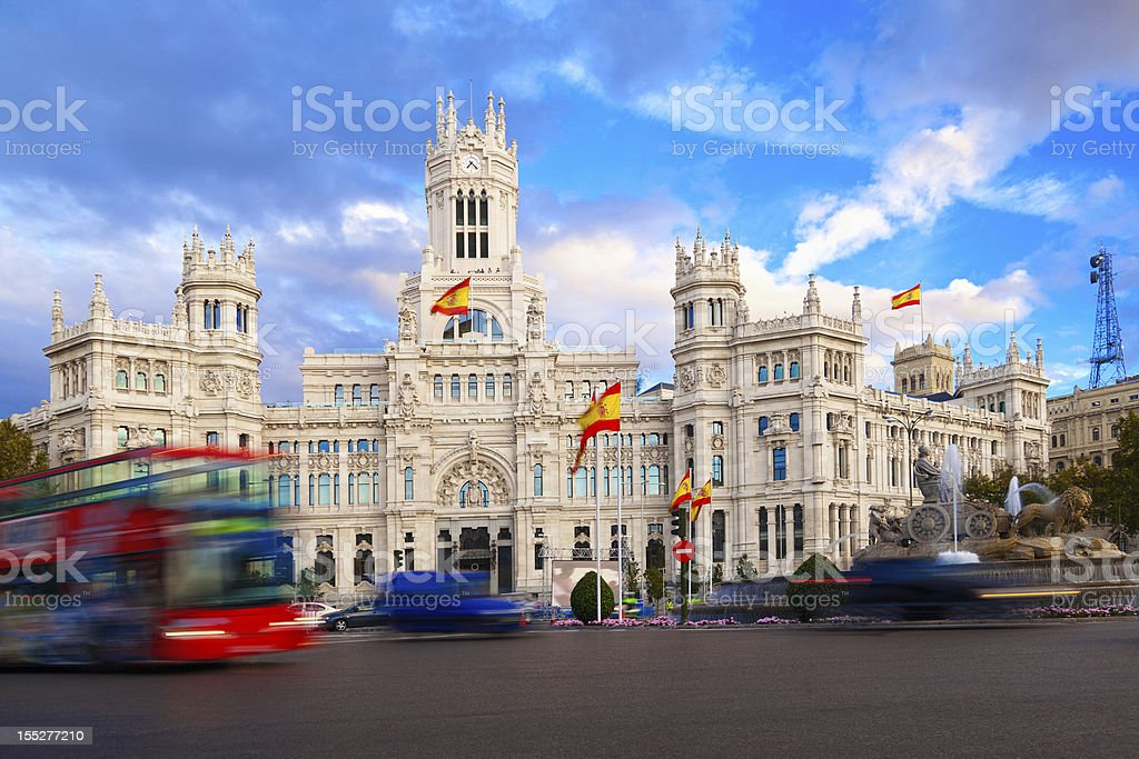 Palacio de Comunicaciones and Cibeles Fountain, Madrid stock photo