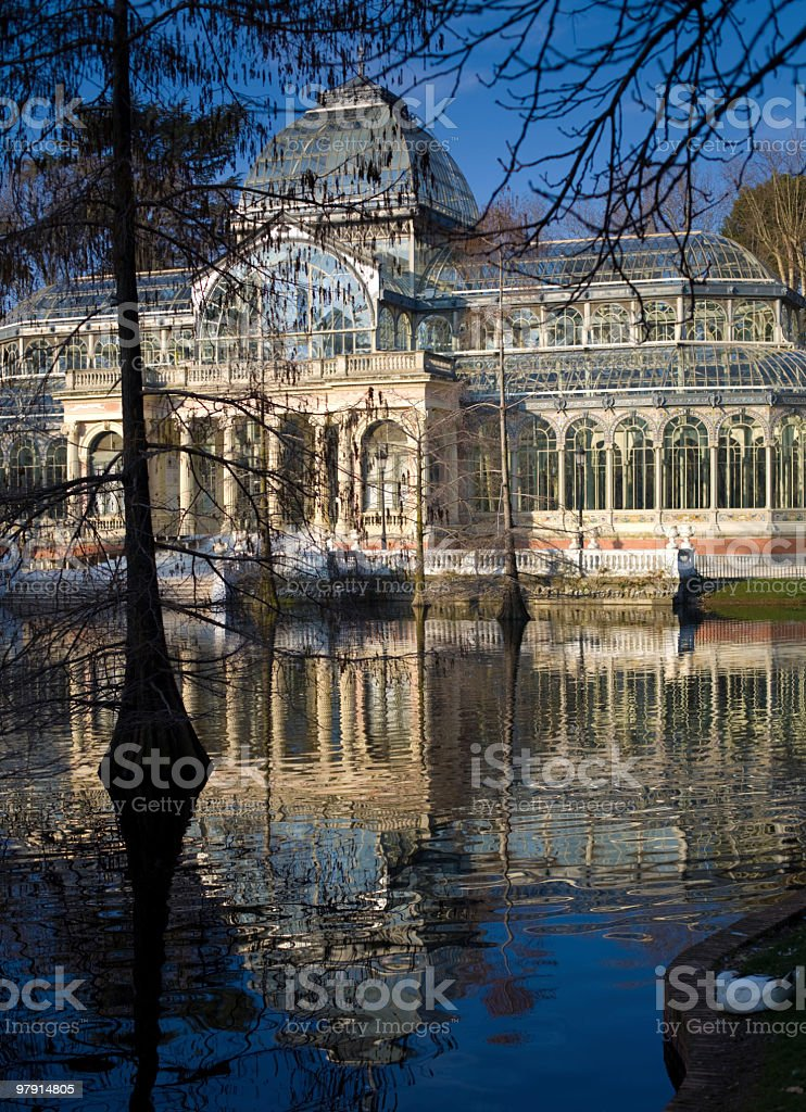 Palacio de Cristal, Parque del Retiro, Madrid, winter royalty-free stock photo