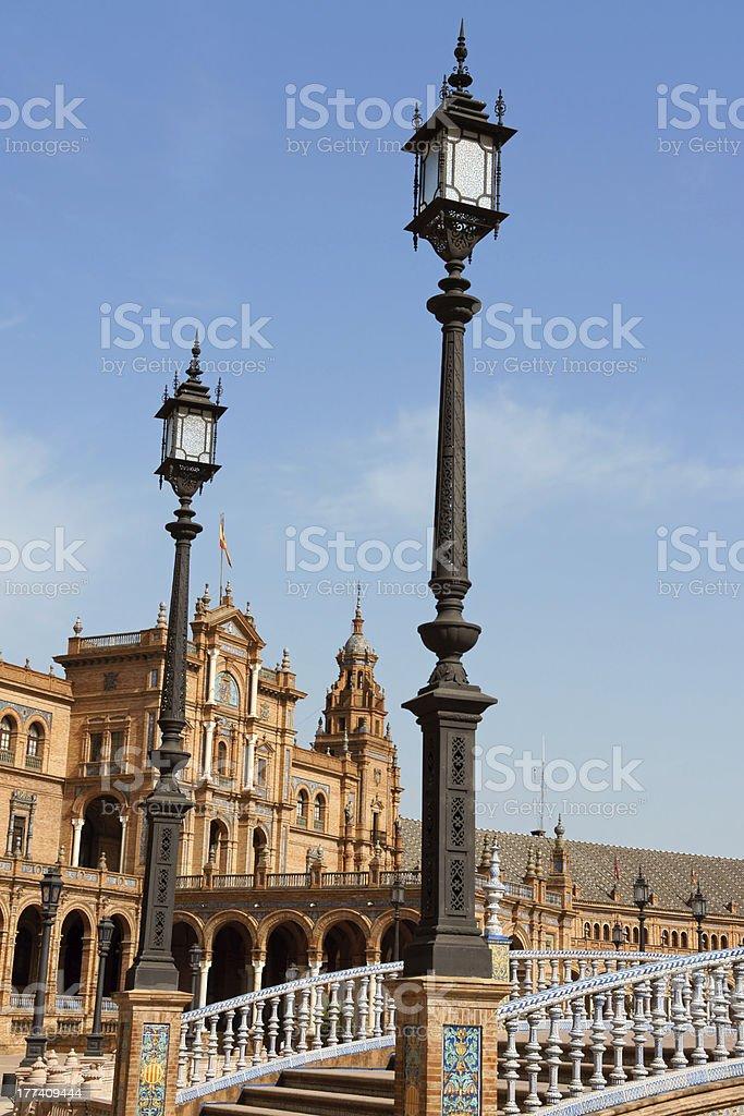 Palacio Espanol, Plaza de Espana in Seville royalty-free stock photo