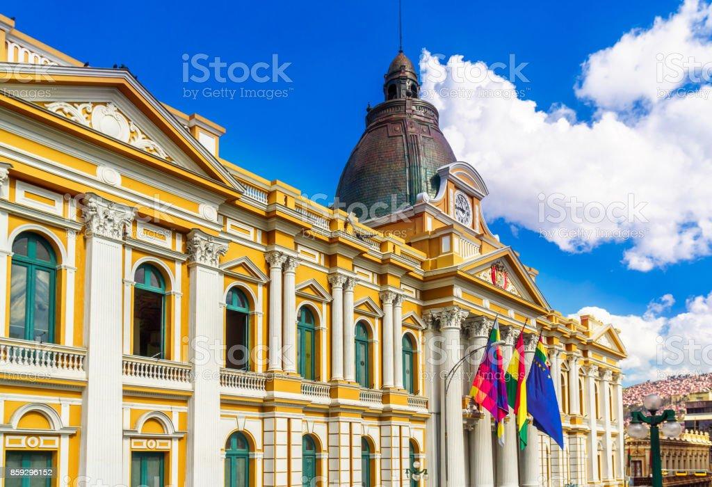 Palacio Quemado - residence building of the president of Bolivia in La Paz stock photo