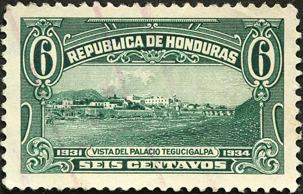 Palacio Tegucigalpa government buildings on an old Honduras stamp stock photo