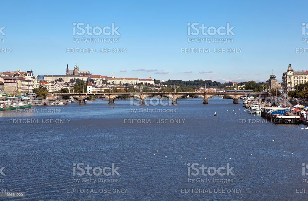 Palacky Bridge and Vltava. Prague. Czech Republic. stock photo