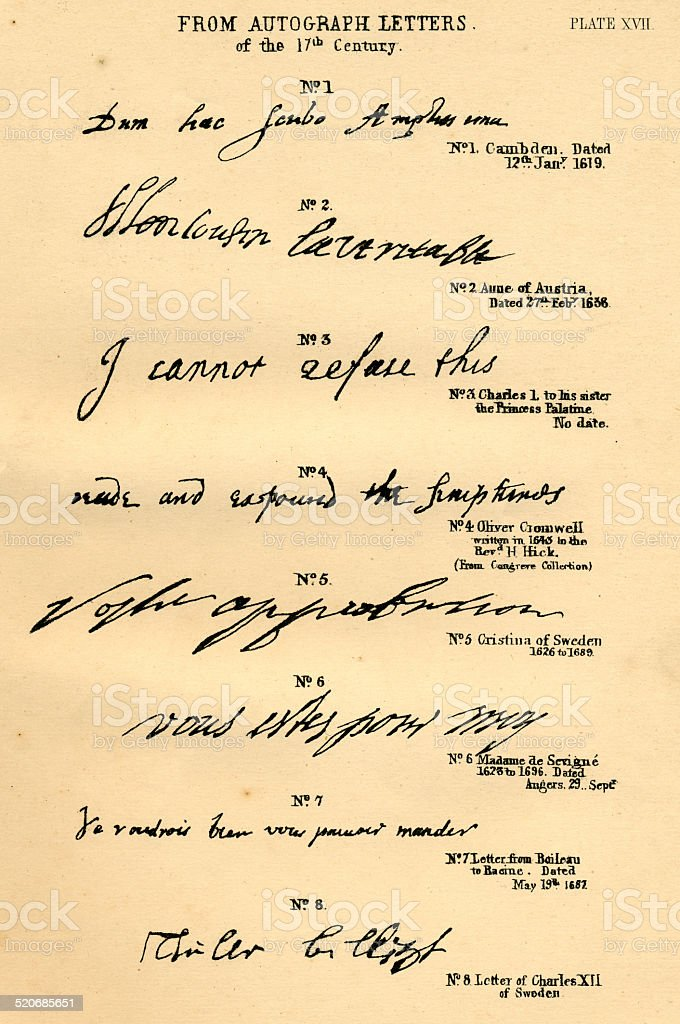 Palaeography historic writing examples 17th century stock photo