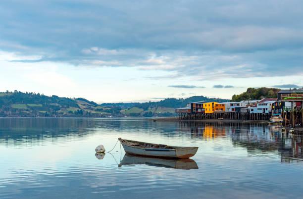 Palafitos Stilt Houses, Castro, Chiloe Island, Chile stock photo