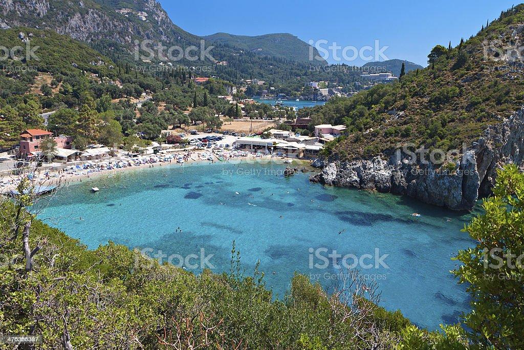 Palaiokastritsa beach at Corfu island in Greece stock photo