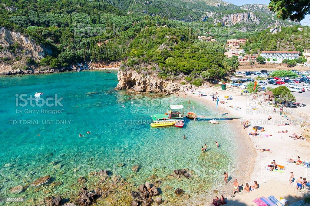 Palaiokastritsa, people sunbathe.  Corfu island, Greece. stock photo