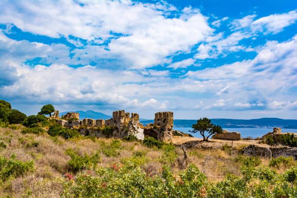 Palaiokastro castle of ancient Pylos. Greece stock photo