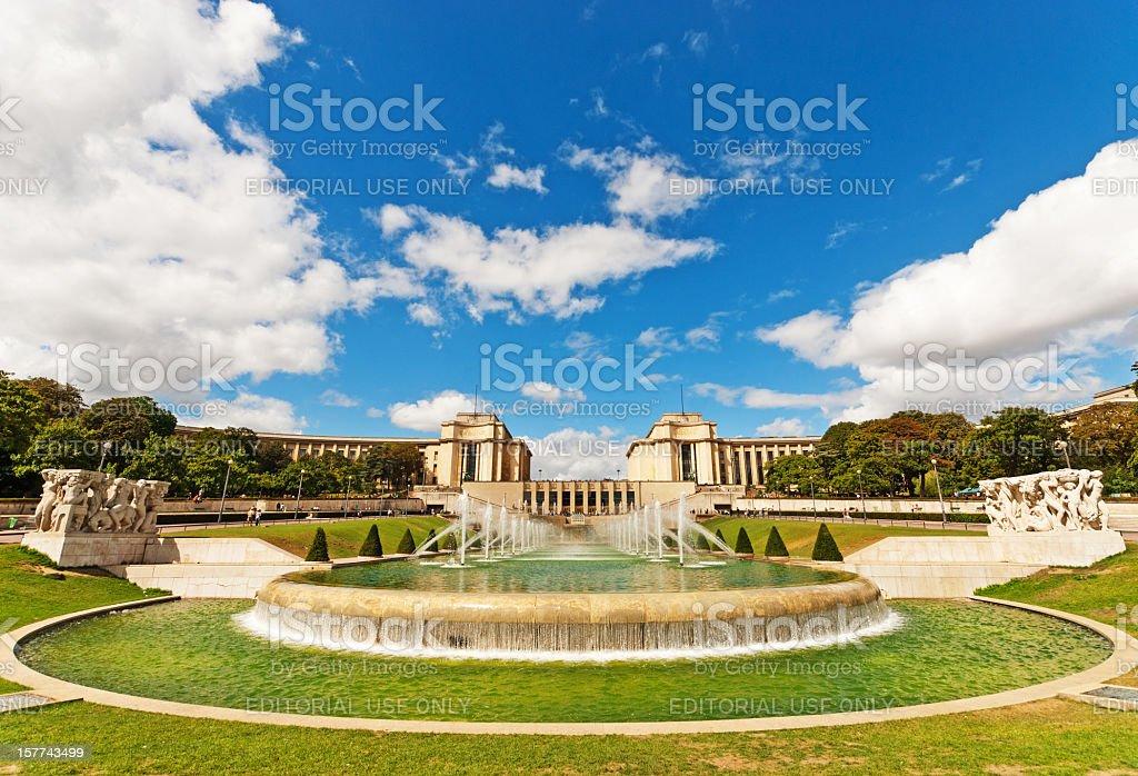 Palais de Chaillot viewed through the Trocadero Fountains stock photo