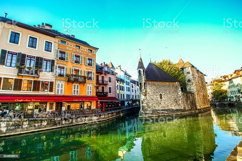 Palais de L'isle and Thiou river in Annecy stock photo