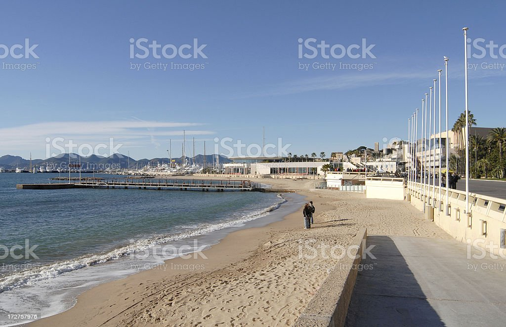 Palais des Festivals and the beach in Cannes stock photo