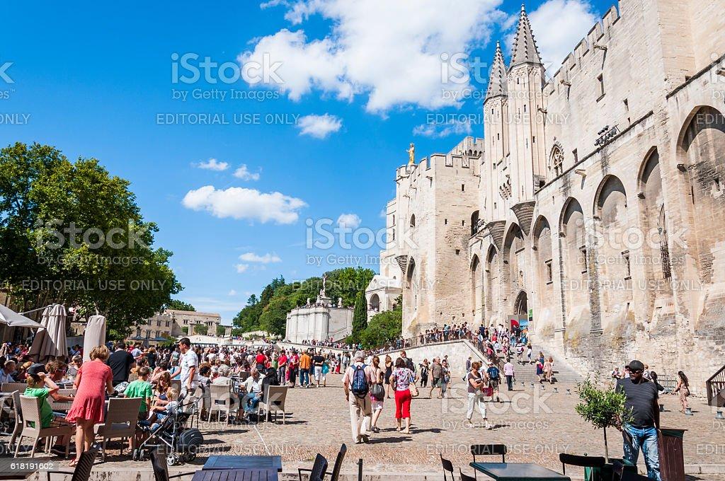 Palais Des Papes Castle, Front Square in Avignon. stock photo