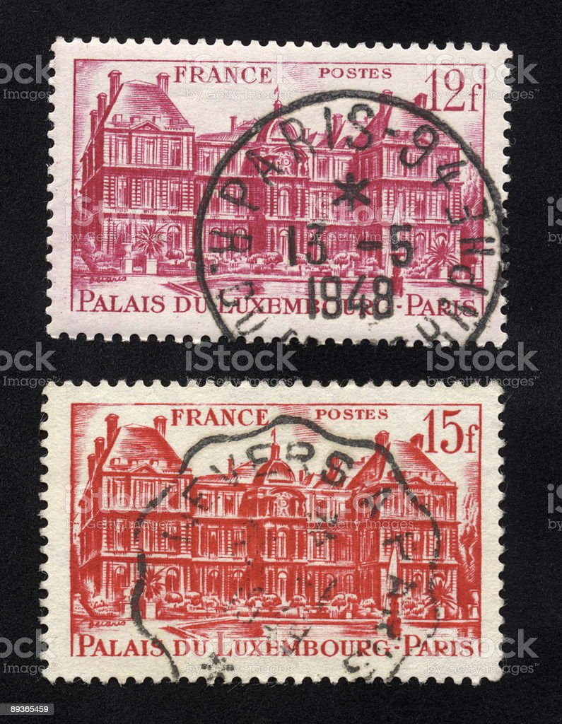 Palais du Luxembourg Stamps 1948, Ephemera. royalty-free stock photo
