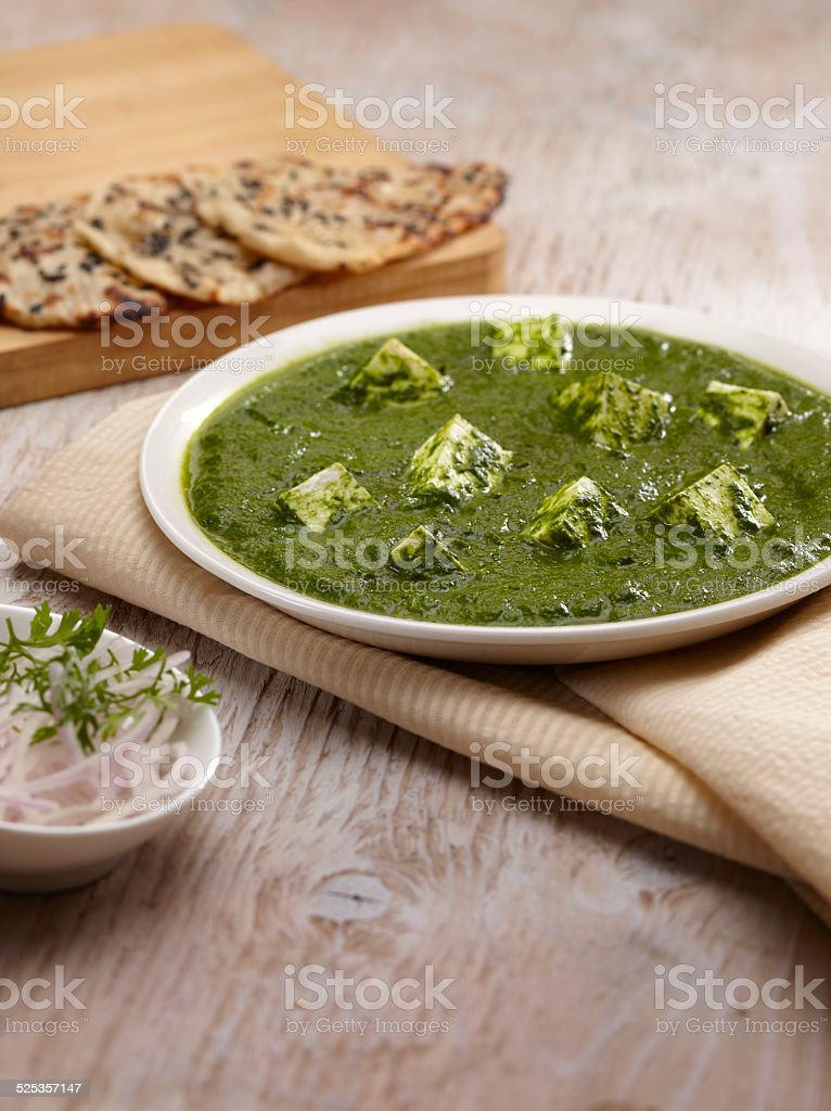 Palak Paneer gravy with nan, Indian Food, India stock photo