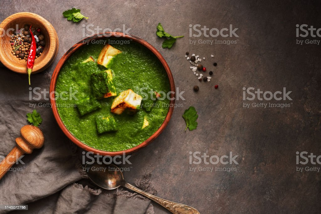 Terrific Palak Paneer Or Spinach And Cottage Cheese Currymortar With Home Interior And Landscaping Analalmasignezvosmurscom