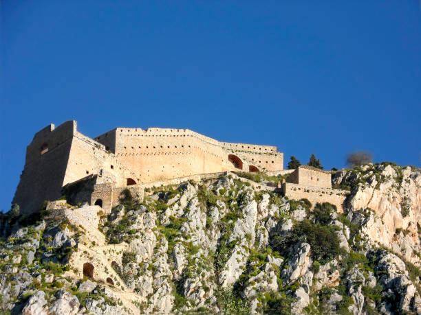 Palamidi, with its imposing castle overlooking Nafplio, is a reference point for the city,a fortified work of Venetian rule. The 857 steps are definitely a challenge to your physical condition. Greece stock photo