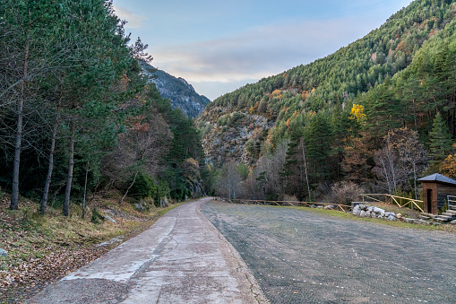 Palanca de la Molina parking in National Park of Aigüestortes and lake of Sant Maurici.