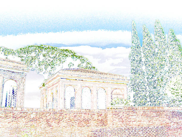Palatine hill, Rome, Italy. Ancient building and cypress trees against the blue sky. Digital colored drawing, watercolor painting imitation stock photo